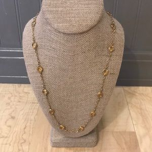 J. Crew long necklace in gold with citrine glass